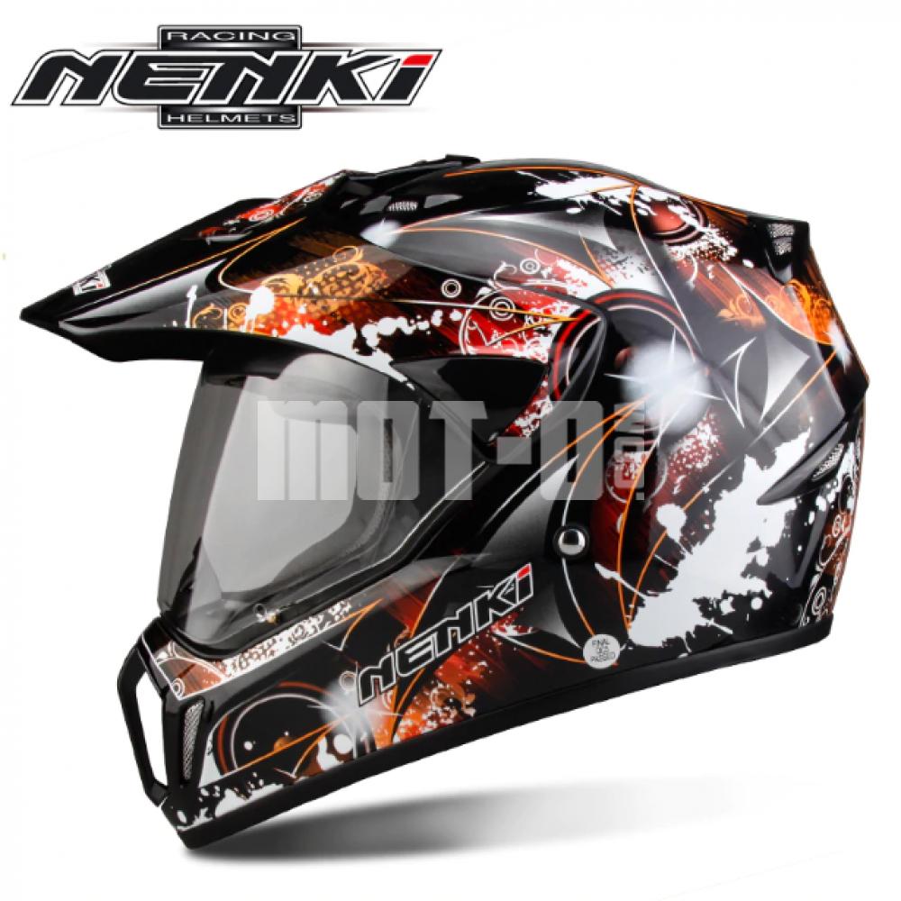 Мотошлем Nenki MX-310 Black Orange р.XL